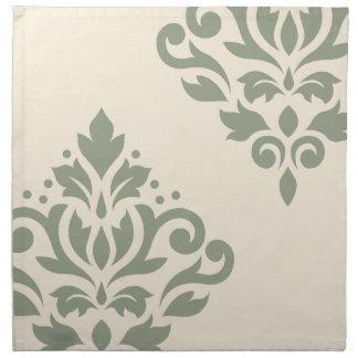 Verde del arte I del damasco de la voluta en la Servilleta Imprimida