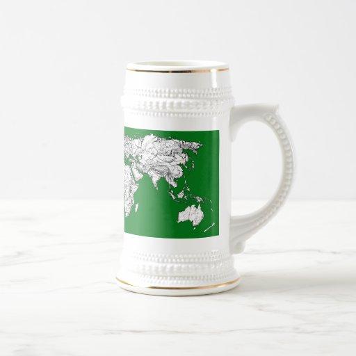 Verde del atlas de la tierra tazas