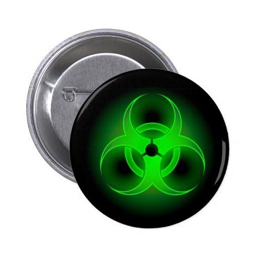 Verde del Biohazard Pins