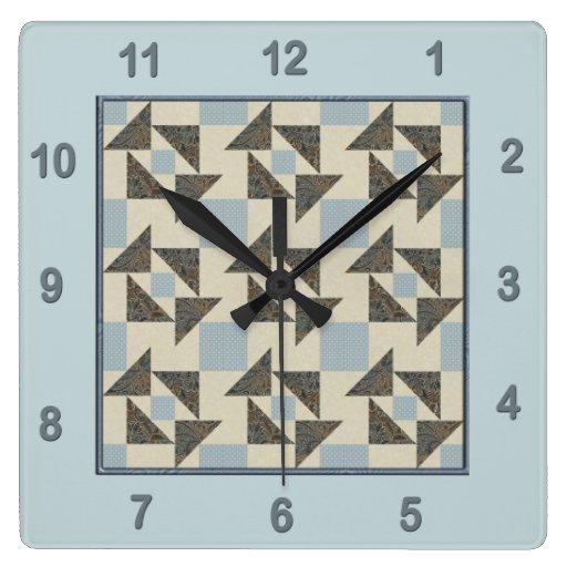 Verde del bloque del edredón del rompecabezas de l reloj cuadrado