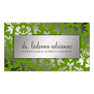 Verde del borrachín de la plata del damasco de 311 tarjetas de visita