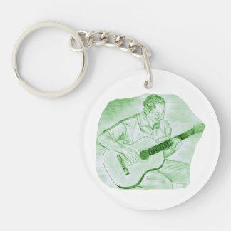 verde del bosquejo del lápiz del jugador de la gui llavero redondo acrílico a doble cara