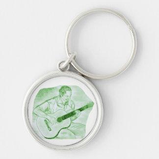 verde del bosquejo del lápiz del jugador de la gui llavero redondo plateado
