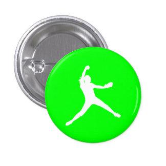 Verde del botón de la silueta de Fastpitch Pin Redondo De 1 Pulgada