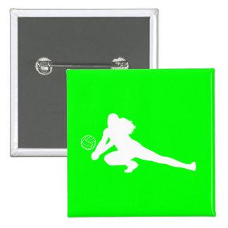 Verde del botón de la silueta del empuje pins