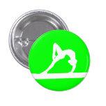 Verde del botón de la silueta del gimnasta pin