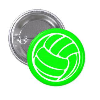 Verde del botón de la silueta del voleibol pin redondo de 1 pulgada