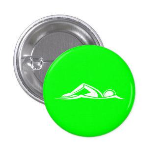 Verde del botón del logotipo de la nadada pin redondo de 1 pulgada