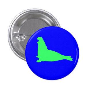 Verde del botón del sello de elefante pin redondo de 1 pulgada