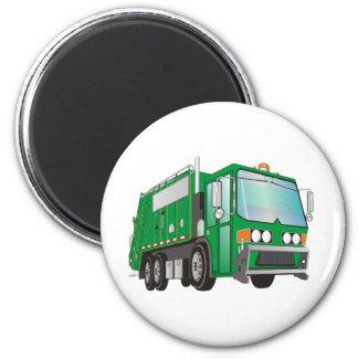 verde del camión de basura 3d imán redondo 5 cm