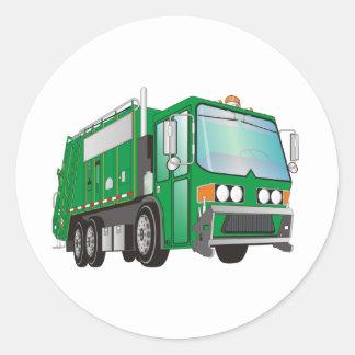 verde del camión de basura 3d pegatina redonda