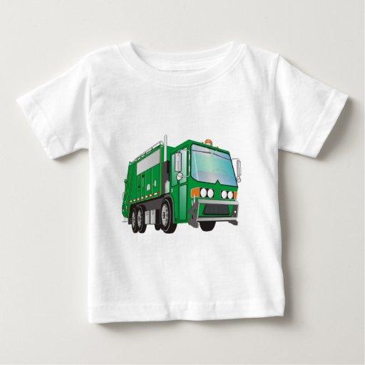 verde del camión de basura 3d playera de bebé