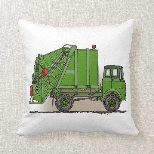 Verde del camión de basura almohadas