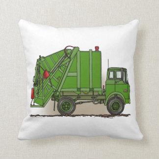 Verde del camión de basura cojín