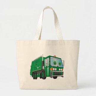 verde del camión de basura del dibujo animado 3d bolsa tela grande