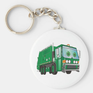 Verde del camión de basura del dibujo animado llavero redondo tipo pin