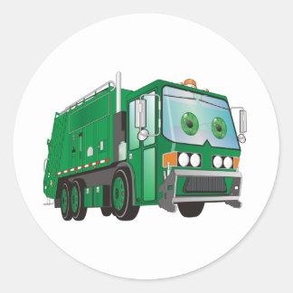 Verde del camión de basura del dibujo animado pegatina redonda