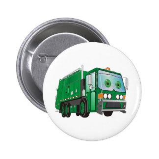 Verde del camión de basura del dibujo animado pin redondo 5 cm