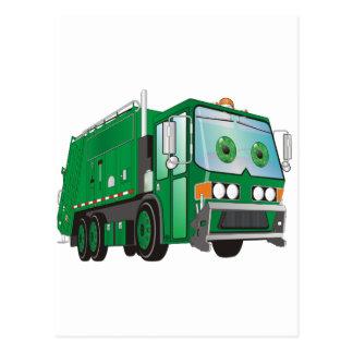 Verde del camión de basura del dibujo animado postal