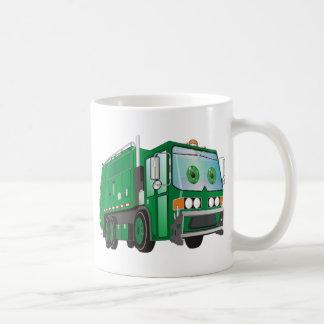Verde del camión de basura del dibujo animado tazas de café