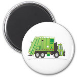 Verde del camión de basura iman de nevera