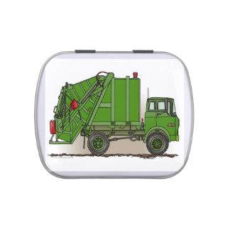 Verde del camión de basura frascos de caramelos