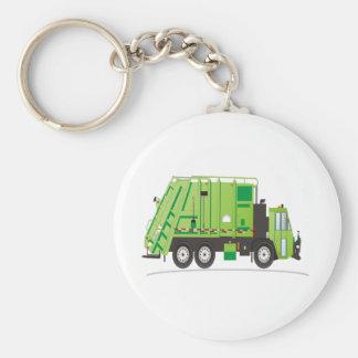 Verde del camión de basura llavero redondo tipo pin