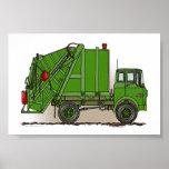 Verde del camión de basura poster