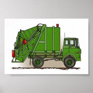 Verde del camión de basura póster