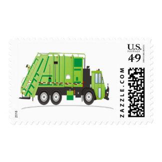Verde del camión de basura sellos postales