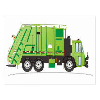 Verde del camión de basura tarjeta postal