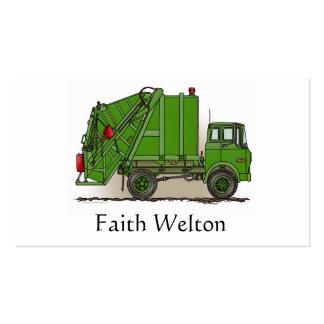 Verde del camión de basura tarjetas de visita