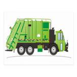 Verde del camión de basura tarjetas postales