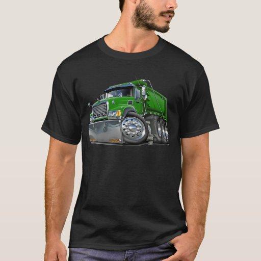 Verde del camión volquete de Mack Playera