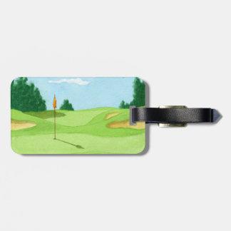 Verde del campo de golf etiquetas maleta