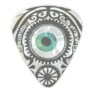 Verde del caramelo del ojo púa de guitarra celuloide nacarado