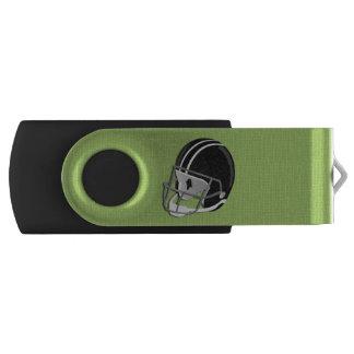 Verde del casco de fútbol americano memoria USB
