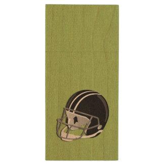 Verde del casco de fútbol americano memoria USB 2.0 de madera