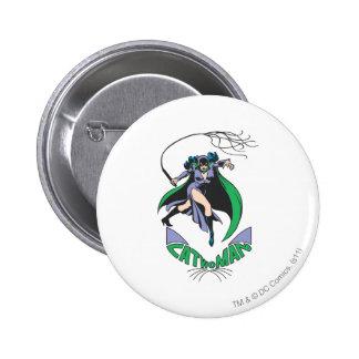 Verde del Catwoman y del logotipo Pin Redondo De 2 Pulgadas