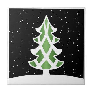 Verde del cielo Nevado de las cintas del árbol de  Azulejo Cuadrado Pequeño