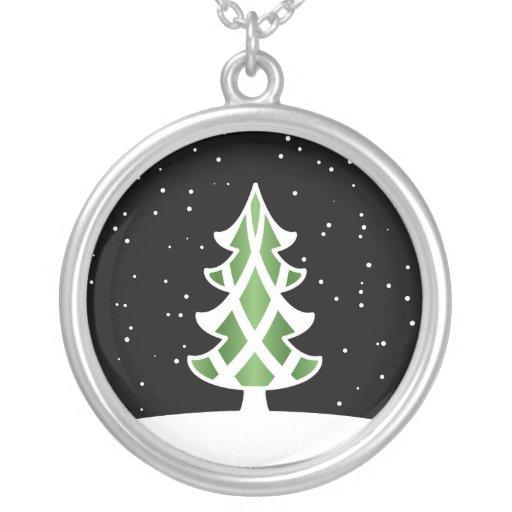 Verde del cielo Nevado de las cintas del árbol de  Colgantes Personalizados