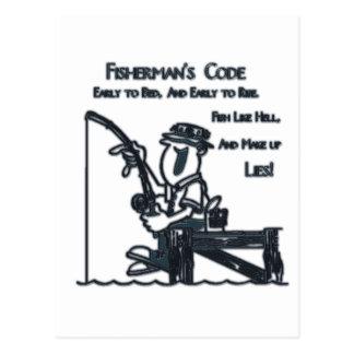Verde del código de Fishermans Tarjeta Postal