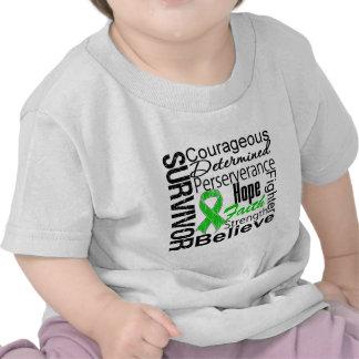 Verde del collage del superviviente del cáncer del camisetas