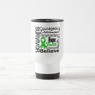 Verde del collage del superviviente del cáncer del taza de viaje