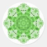 Verde del copo de nieve etiquetas redondas