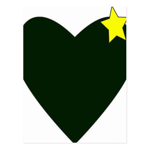 verde del corazón con la estrella amarilla postales