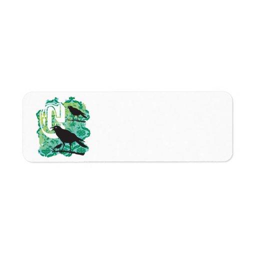 Verde del cuervo etiquetas de remite