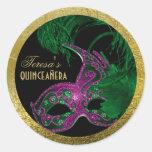 Verde del cumpleaños del quinceañera de la mascara etiqueta