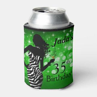 Verde del cumpleaños el | de la cebra de Bling del Enfriador De Latas