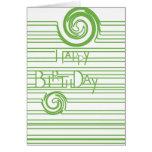 Verde del cumpleaños tarjeta